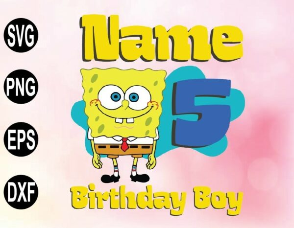wtm 02 50 Vectorency SPONGEBOB SVG Personalized Inspired SVG, PNG, File Party Birthday Raglan Custom gift kids family Matching All Sizes, Short Tee
