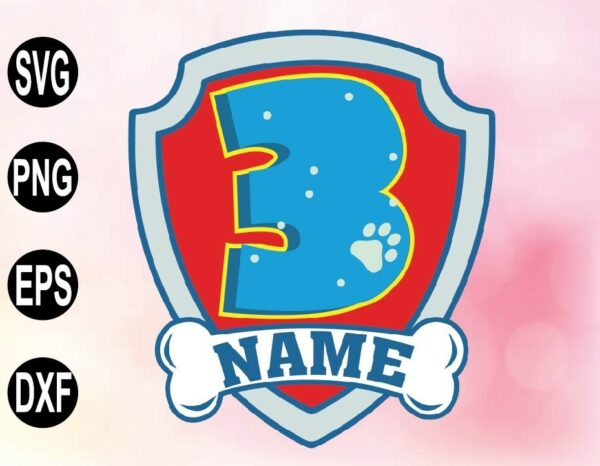 wtm 02 56 Vectorency Paw CUSTOMIZED BIRTHDAY Badge Name and Age SVG, Paw Patrol Badge SVG, PNG and Other Print and Cut Files. For Pups on Patrol Fans Personal Use Only