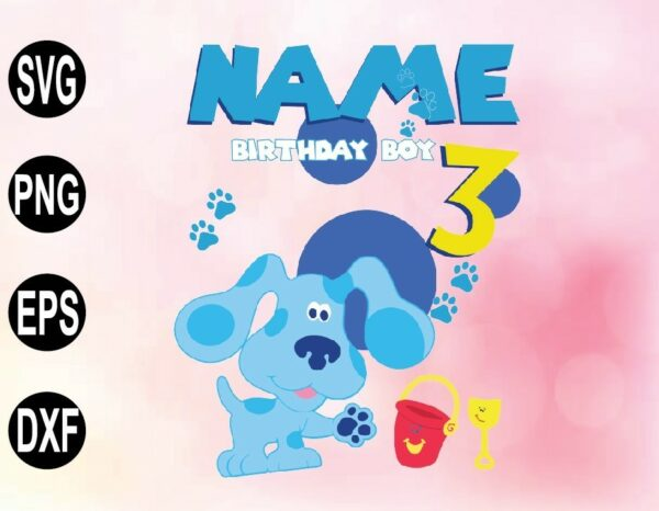 wtm 02 57 Vectorency Personalized Name Blue Clues birthday, Blue clues party theme Blue Clues JPG PNG PDF