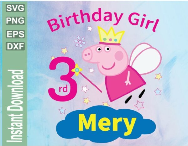 wtm 03 15 Vectorency Peppa Pig Birthday Girl Personalized SVG, Peppa Pig SVG, Printable, PNG, Peppa Pig Design, Instant Download