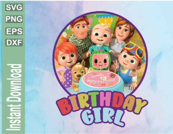 wtm 03 19 Vectorency Cocomelon Birthday Girl Design, Cocomelon Printable File, Cocomelon PNG File for Girls Birthday, Cocomelon PNG, Cocomelon