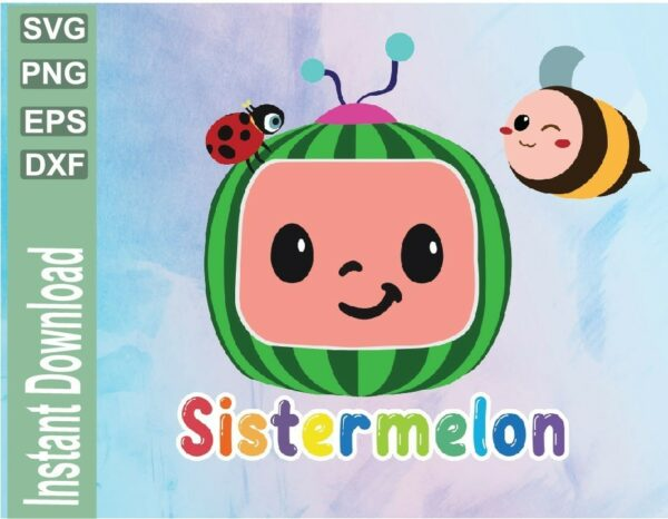 wtm 03 2 Vectorency Cocomelon Sister Birthday SVG File, Cocomelon Sister Family Birthday Party SVG File , Watermelon Birthday SVG, Birthday, PNG, EPS, DXF