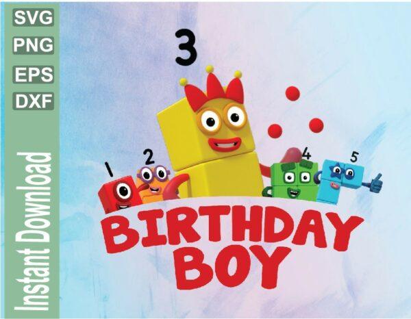 wtm 03 22 Vectorency Numberblocks Birthday Boy Design, Boy Birthday PNG File, Boys Birthday PNG, PNG 300PPI