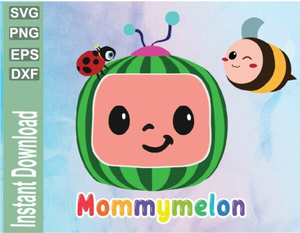 wtm 03 29 Vectorency Cocomelon Mommy Birthday SVG File, Cocomelon Family Mommy Birthday Party SVG File , Watermelon Birthday, Birthday SVG
