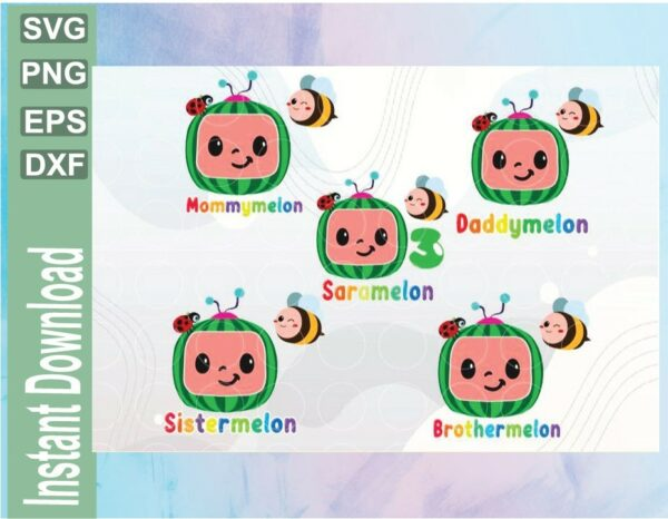 wtm 03 31 Vectorency Cocomelon Personalized Family Birthday Bundle SVG, PNG EPS DXF, Watermelon File , Cocomelon Birthday SVG File