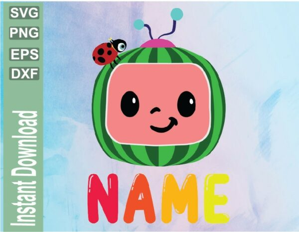 wtm 03 37 Vectorency Cocomelon Personalized Family Birthday SVG, Cocomelon SVG, PNG, EPS, DXF, Cut File, Watermelon, Cocomelon Custom Birthday File