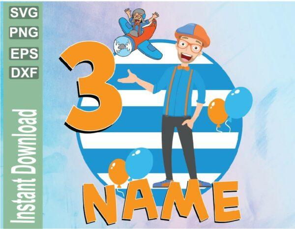 wtm 03 38 Vectorency Blippi Birthday SVG, PNG, DXF, EPS, Blippi Party, Blippi Raglan, Personalized, Family Gift Christmas