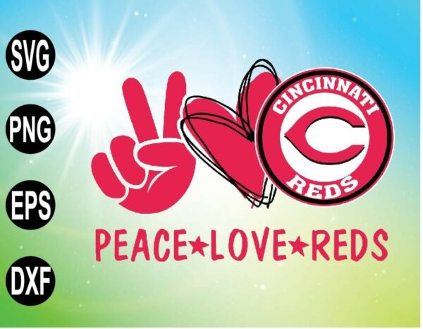 wtm 09 1 Vectorency Peace love with Cincinnati Reds SVG, MLB team, SVG, PNG, EPS, DXF