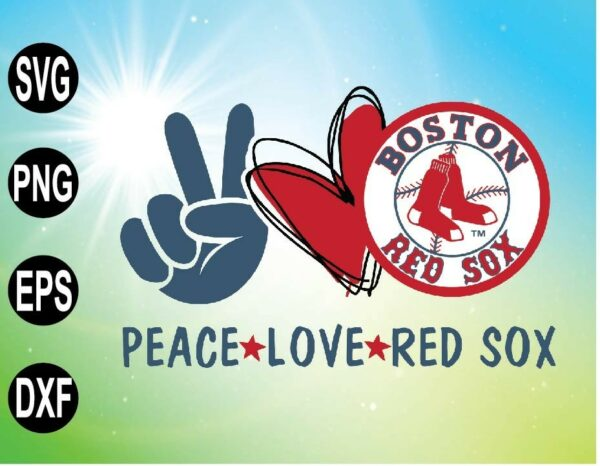 wtm 09 12 Vectorency Peace Love with Boston Red Sox SVG, MLB Team, SVG, PNG, EPS, DXF