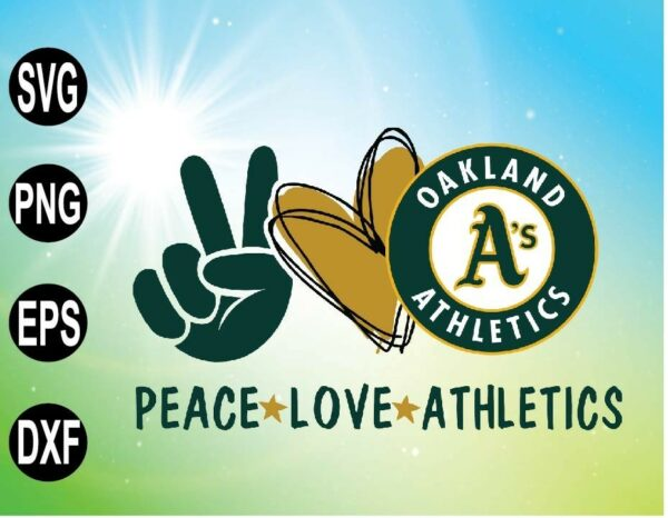 wtm 09 15 Vectorency Peace love with Oakland Athletics , MLB team, Svg,Png,Eps,Dxf