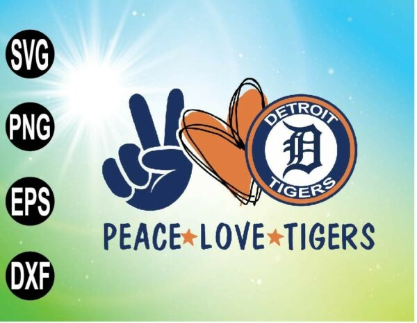 wtm 09 16 Vectorency Peace love with Detroit Tigers , MLB team, Svg,Png,Eps,Dxf
