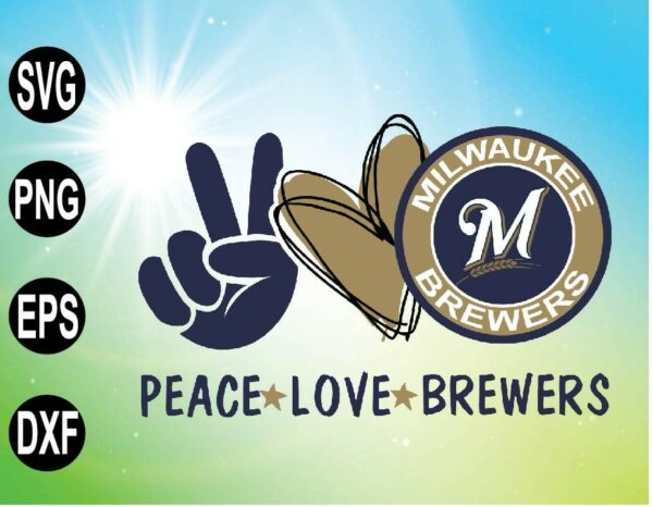 wtm 09 19 Vectorency Peace love with Milwaukee Brewers , MLB team, Svg,Png,Eps,Dxf