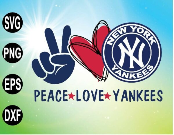 wtm 09 2 Vectorency Peace love with New York Yankees SVG, MLB team SVG, PNG, EPS, DXF