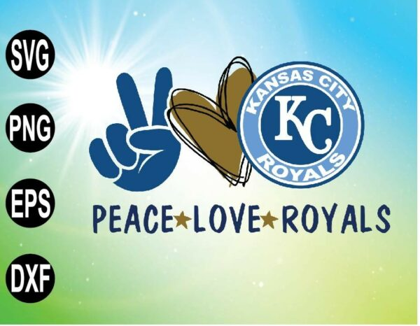 wtm 09 3 Vectorency Peace Love with Kansas City Royals SVG, MLB Team, SVG, PNG, EPS, DXF