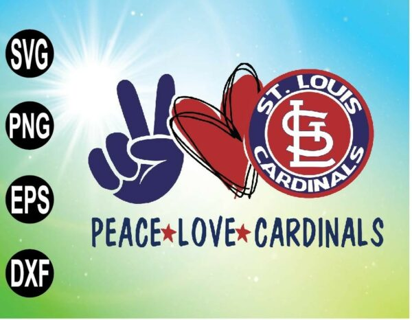 wtm 09 4 Vectorency Peace love with St Louis Cardinals SVG, MLB Team, SVG, PNG, EPS, DXF