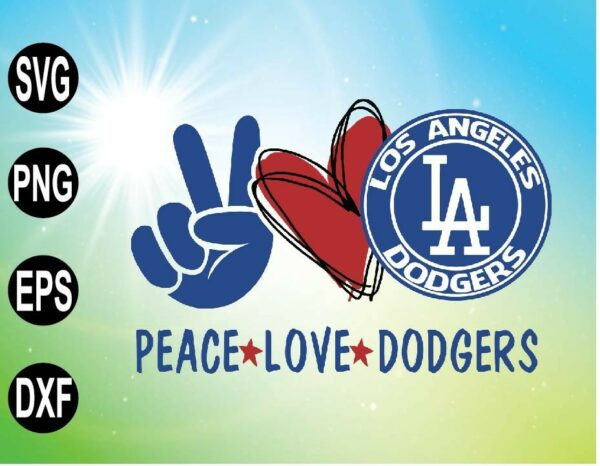 wtm 09 5 Vectorency Peace love with LA Dodgers SVG, MLB Team, SVG, PNG, EPS, DXF