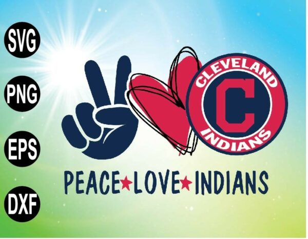 wtm 09 7 Vectorency Peace Love with Cleveland Indians SVG, MLB Team, SVG, PNG, EPS, DXF