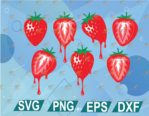 wtm web 01 10 Vectorency Strawberry SVG Bundle File For Cricut, Colorful Dripping Strawberry Shirt Design, Melting Juicy Berry Hot Pink Drip SVG DXF PNG EPS PDF