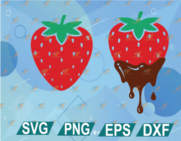wtm web 01 11 Vectorency Strawberry SVG Files For Cricut, Colorful Dripping Chocolate Strawberry Design, Chocolate Covered Strawberries SVG DXF PNG EPS PDF