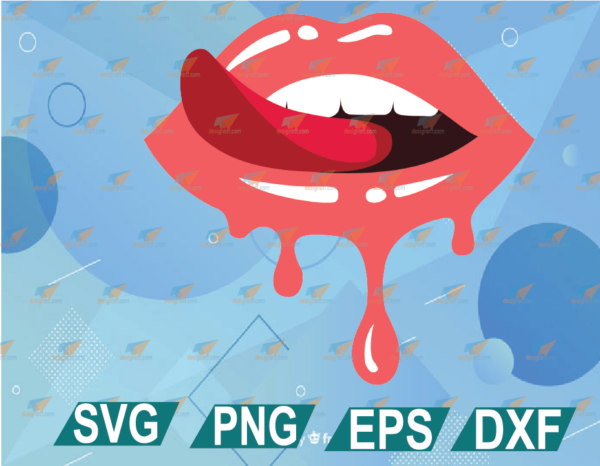 wtm web 01 13 Vectorency Dripping Lips SVG Cricut Cut Files, Sticking Tongue Out Biting Lips, Glossy Lipstick T-Shirt Design SVG DXF PNG EPS PDF