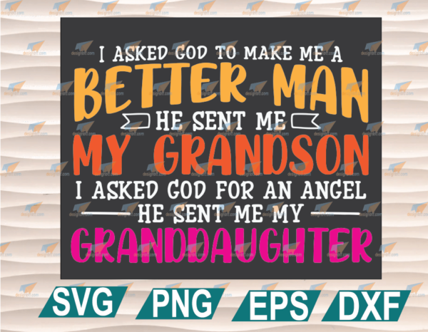 wtm web 01 57 Vectorency Father's Day SVG, Father's Day, God Sent Me My Granddaughter Grandpa Cricut File, Clipart, SVG, PNG, EPS, DXF