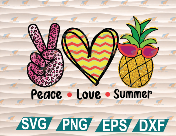 wtm web 01 62 Vectorency Peace Love Summer Pineapple, Just in Time for Summer, Perfect for Sublimation, Cricut File, Clipart, SVG, PNG, EPS, DXF