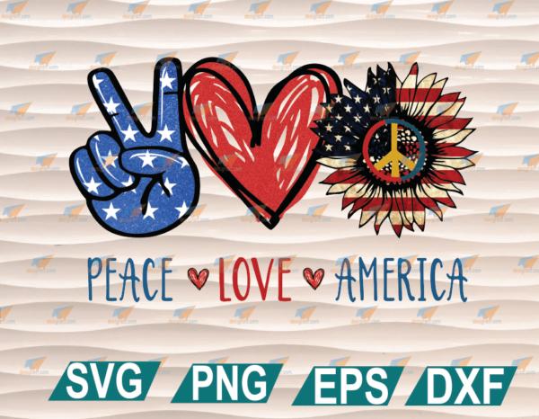 wtm web 01 64 Vectorency Peace Love America PNG, American Sunflower PNG, American Flag PNG, American Pride, PNG Printable, Instant Download, Digital File