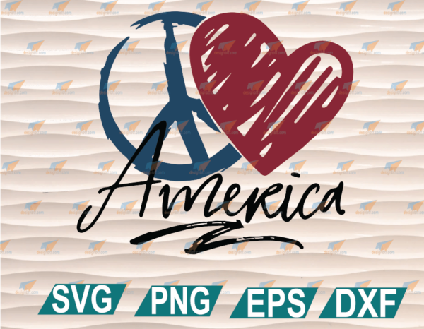 wtm web 01 72 Vectorency Peace Love America, Peace Sign, Red Heart, 4th Of July, Independence Day, Love USA, Freedom, Cricut File, Clipart, SVG, PNG, EPS, DXF