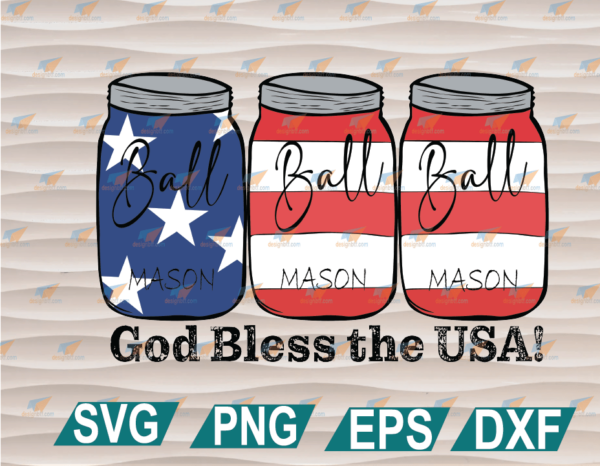 wtm web 01 91 Vectorency Mason Jar 4th of July Graphic, God Bless Sublimation Digital Design, Fourth of July Sublimation PNG, Stars and Stripes Digital Download