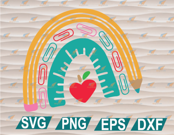wtm web 01 96 Vectorency School Supply Rainbow, Layered Teacher SVG, Teach, Apple, File for Cutting Machines Clipart, SVG, PNG, EPS, DXF, Digital File