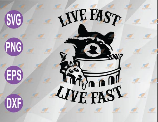 wtm web 04 57 Vectorency Live Fast Eat Trash SVG Cute Raccoon In Trash Bin Holding Pizza Funny SVG, PNG, EPS, DXF, Digital File