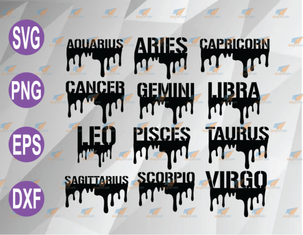 wtm web 04 76 Vectorency Zodiac Drip SVG, Zodiac Signs Names Dripping Drip Horoscope Symbols SVG Layered File Download