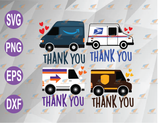 wtm web 04 77 Vectorency Thank You Essential Workers Delivery Drivers Mail Postal SVG Layered File Download