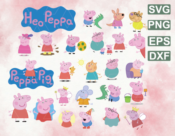 wtm web 06 20 Vectorency Family Peppa Pig Svg Png Dxf Clipart Digital Download Aunty Pig Svg