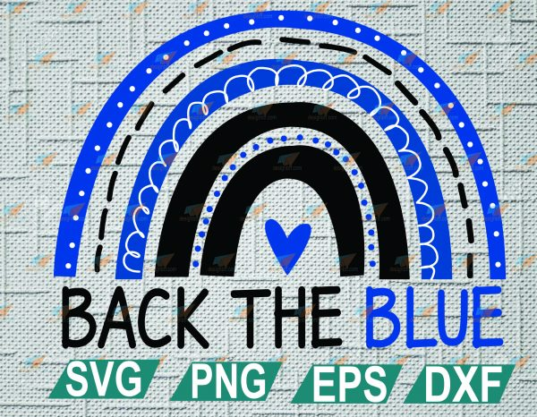 wtm web 2 01 2 Vectorency Back the Blue Rainbow, Thin Blue Line, Police Instant Download, Cut File, SVG, DXF, PNG, EPS