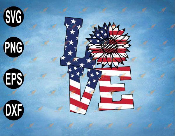 wtm web 2 03 25 Vectorency 4th Of July Love Sunflower Patriotic American Flag, Memorial day , USA flag Svg, svg, png,eps,dxf digital file, Digital Print Design