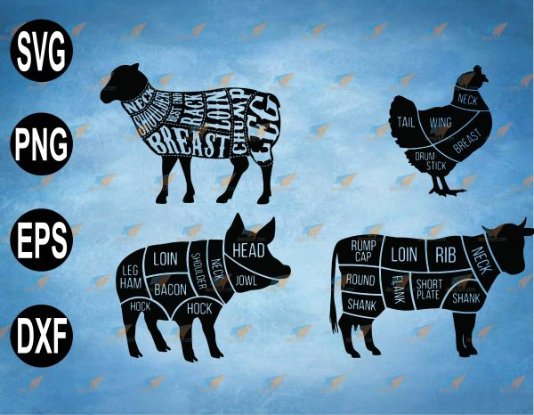 wtm web 2 03 43 Vectorency Cow Meat SVG, I'd Smoke That, BBQ SVG, Pig Griling, Pig Meat Cuts, Cow cuts, SVG, PNG, EPS, Download File
