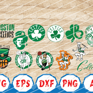 1 4 Vectorency Boston Celtics SVG Set of Cut Files, EPS, DXF Files of a Sports Team, For Cutting, Design, T-Shirts, Mugs, Projects, Crafts