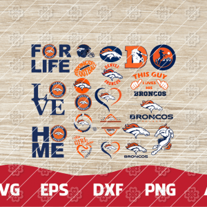 10 2 Vectorency Denver Broncos SVG - set of cut file, EPS, DXF, SVG, PNG Files of a Sports Team, for Cutting, Design, T-Shirts, Mugs, Projects, Crafts