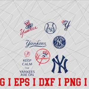 10 Vectorency NEW YORK Yankees Logo SVG - Set of EPS, DXF, SVG, PNG Files of a Sports Team, For Cutting, Design, T-Shirts, Mugs, Projects, Crafts...