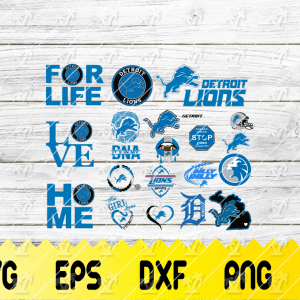 11 2 Vectorency Detroit Lions SVG Cut files - set of EPS, DXF, SVG, PNG Files of a Sports Team, For Cutting, Design, T-Shirts, Mugs, Projects, Crafts