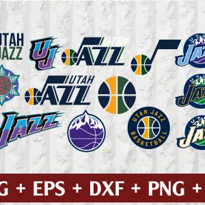 12 1 Vectorency Utah Jazz Cut Files Set of Cut Files, EPS, DXF Files of a Sports Team, For Cutting, Design, T-Shirts, Mugs, Projects, Crafts
