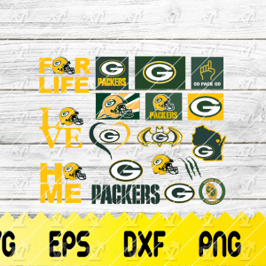 12 Vectorency Green Bay Packers SVG - set of Cut File, EPS, DXF, SVG, PNG Files of a Sports Team, for Cutting, Design, T-Shirts, Mugs, Projects, Crafts