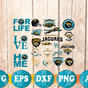 15 2 Vectorency Jacksonville Jaguars Set of cut File, EPS, DXF Files of a Sports Team, for Cutting, Design, T-Shirts, Mugs, Projects, Crafts