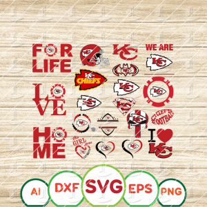 16 1 Vectorency Kansas City Chiefs SVG - set of Cut File, EPS, DXF, SVG, PNG Files of a Sports Team, for Cutting, Design, T-Shirts, Mugs, Projects, Crafts