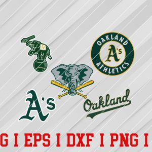 16 Vectorency Oakland Athletics Logo SVG - set of SVG, EPS, DXF, PNG Files of a Sports Team, For Cutting, Design, T-Shirts, Mugs, Projects, Crafts...