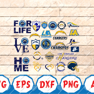 17 1 Vectorency Los Angeles Chargers SVG Bundle - set of cut file, EPS, DXF, SVG, PNG files of a Sports Team, for Cutting, Design, T-shirts, Mugs, Projects, Crafts
