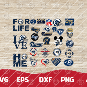 18 1 Vectorency Los Angeles Rams Set of Cut File, EPS, DXF Files of a Sports Team, for Cutting, Design, T-Shirts, Mugs, Projects, Crafts
