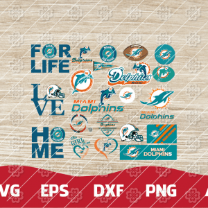 19 1 Vectorency Miami Dolphins SVG Bundle - set of cut file,EPS, DXF, SVG, PNG files of a Sports Team, for Cutting, Design, T-Shirts, Mugs, Projects, Crafts