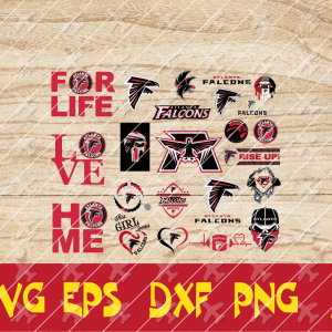 2 2 Vectorency Atlanta Falcons SVG - set of Cut File, EPS, DXF, SVG, PNG Files of a Sports Team, for Cutting, Design, T-Shirts, Mugs, Projects, Crafts